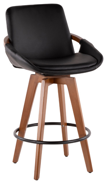 Lumisource Cosmo Counter Stool, Walnut and Black PU Leather