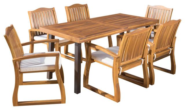 Spanish Bay Teak Finish Acacia Wood Dining Table