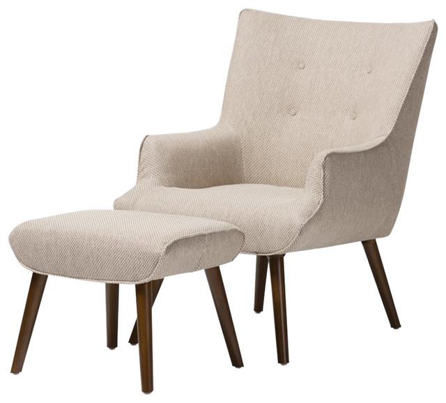 Beige Fabric Upholstered Occasional Armchair, Ottoman Set
