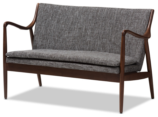 Shakespeare Mid-Century Walnut Wood Gray Fabric Upholstered Loveseat.