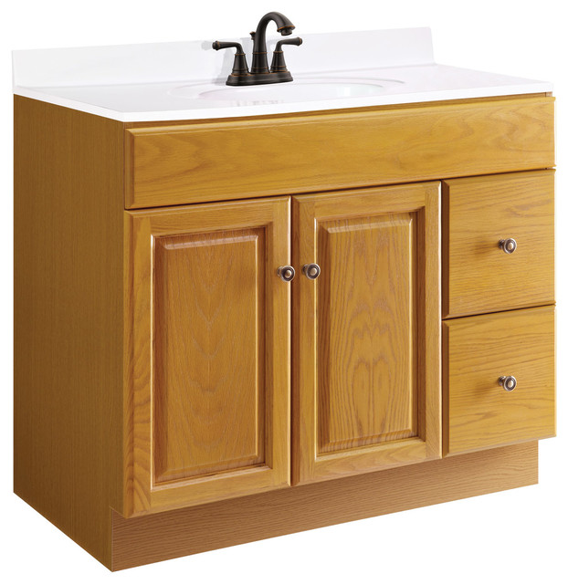 Claremont 36x18 Oak 2 Door 2 Drawer Honey Oak Finish Traditional