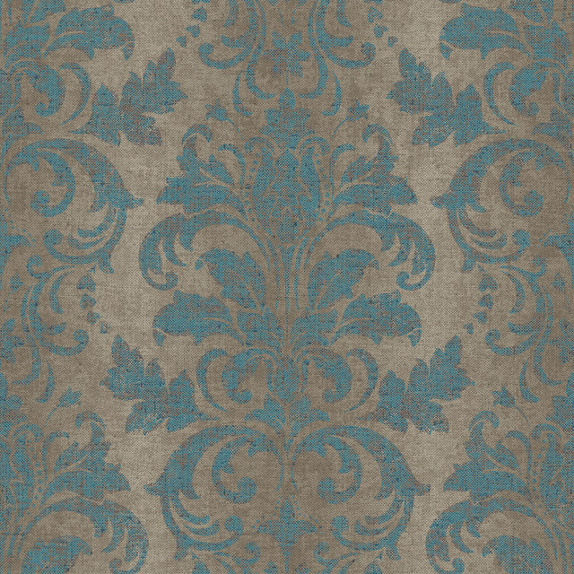 Ombre Damask Wallpaper, Teal