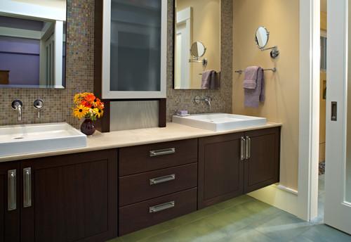 Espresso Bathroom Vanity Cabinet White Countertops