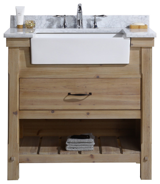 "Marina 36"" Bathroom Vanity, Driftwood Finish."