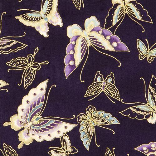 Dark Purple Butterfly Fabric With Gold Robert Kaufman