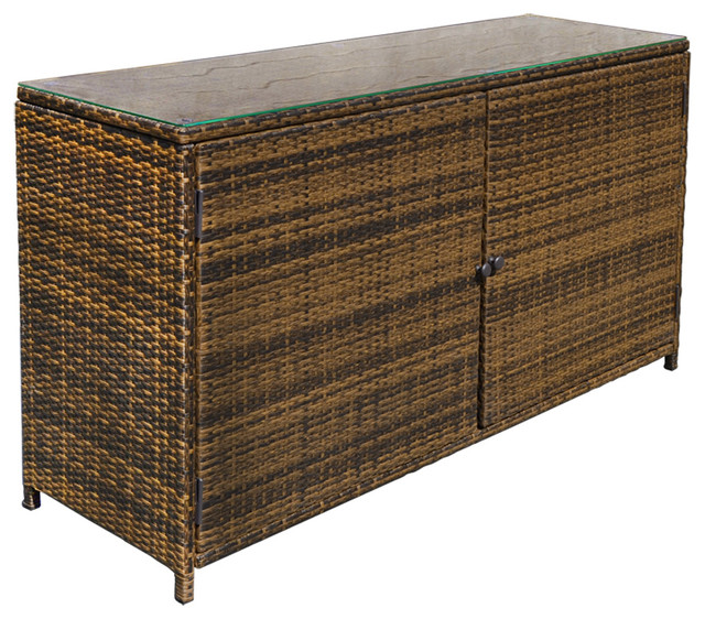 Outdoor Wicker Cabinet: Wicker Rattan Buffet Serving Cabinet Table Storage Counter