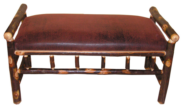 Rustic Hickory Upholstered Bench, Distressed Leather.