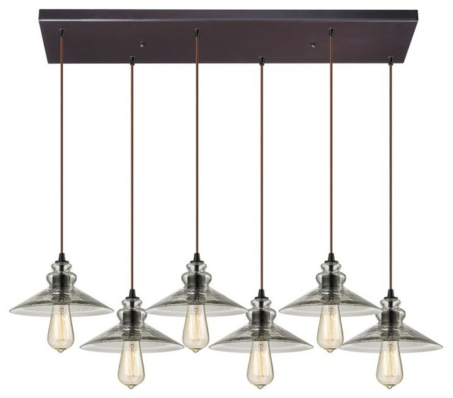 Oil Rubbed Bronze Hammered Glass 6-Light Linear Pendant