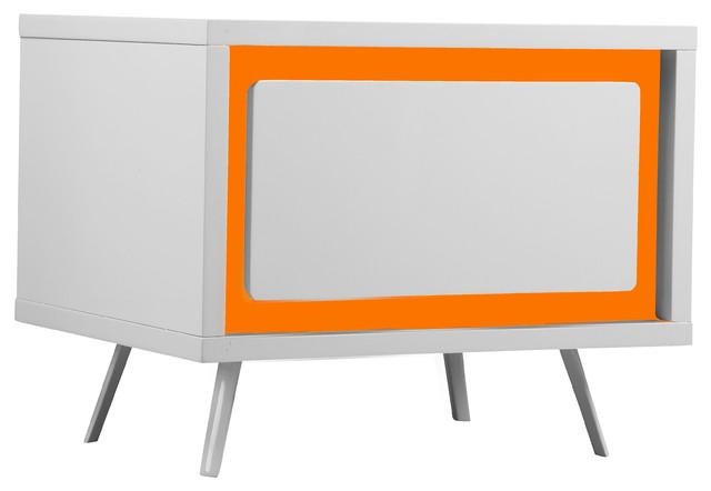 Ava Night Stand, White/orange.