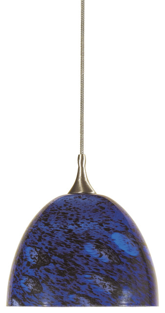 Jc-Type 12v G6.35 35w Max Pendant, Brushed Steel Finish, Blue Black Speckle.