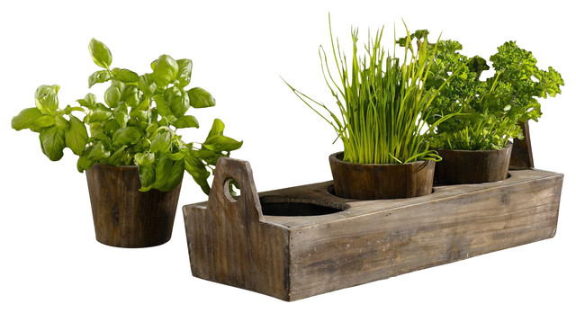 Wooden Garden Plant Tray, 3-Sectioned Tray For Herbs And Flowers.