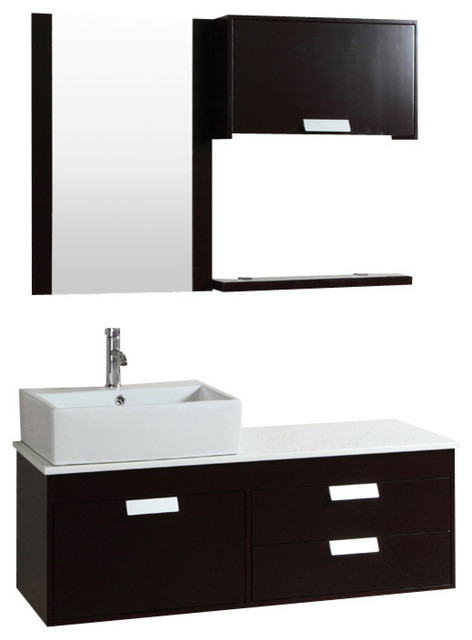 48 Wall Mount Bathroom Cabinet With Mirror And Faucet Contemporary