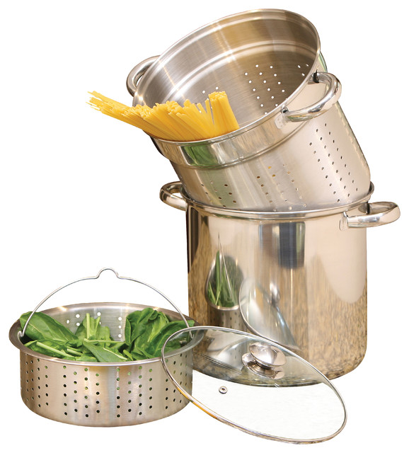 Stainless Steel Pasta Cooker 12-Quart 4 Piece Encapsulated Base.