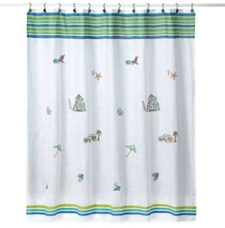 Croscill Ocean Surf 70Inch x 75Inch Fabric Shower Curtain  Coastal  Shower Curtains  by Bed