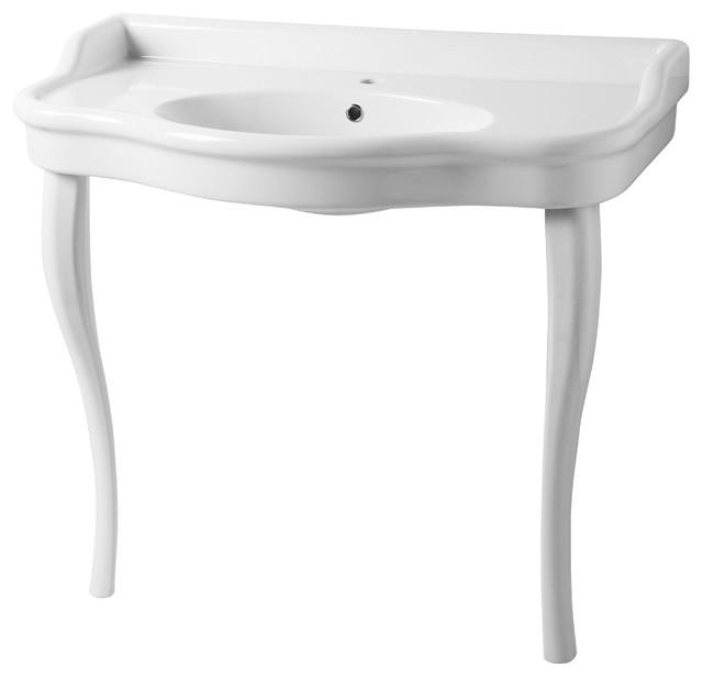 "Sbordoni Palladio Ceramic Console Washbasin, 1 Tap Hole, 40""x23""."