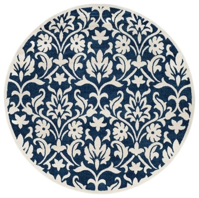Safavieh Amherst 7&x27; Round Power Loomed Rug, Navy And Ivory.