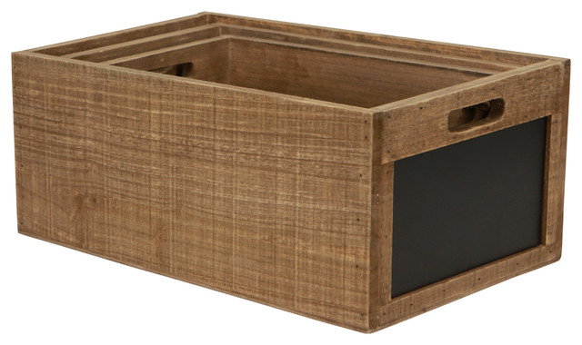 Set Of 3 Wood Crate With Chalkboard.