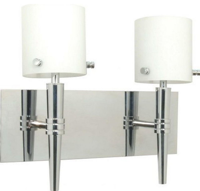 Bathroom Sconces Polished Chrome sonora 2-light wall sconce, polished chrome and white opal glass
