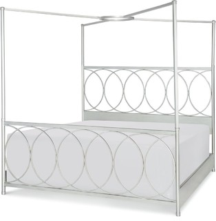 Rachael Ray Home Cinema Metal Canopy Bed, Queen, Shadow Gray