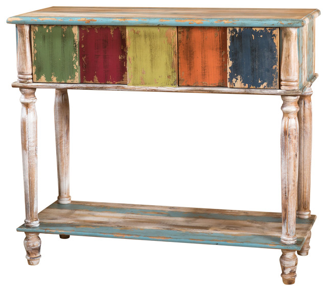 Leo antique multi color weathered wood drawer console