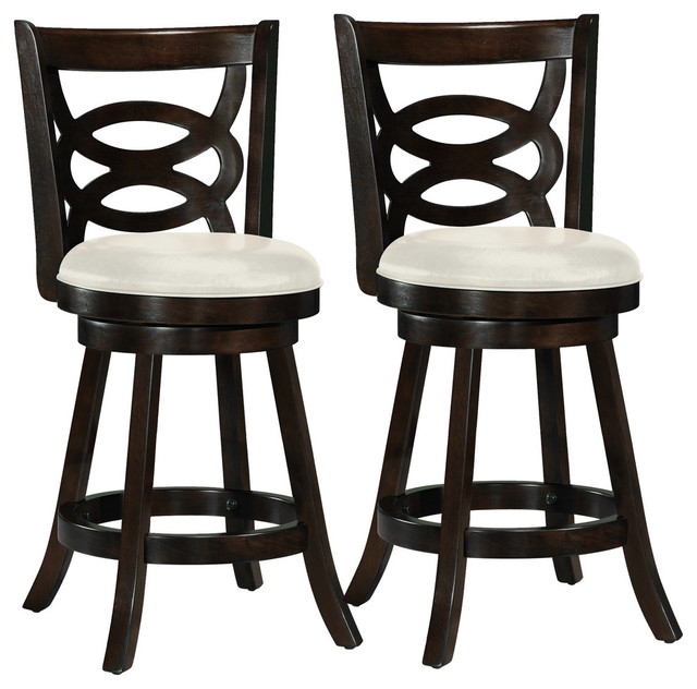 "Woodgrove 38"" Cappuccino Wood Barstool With Leatherette Seat, Set of 2"