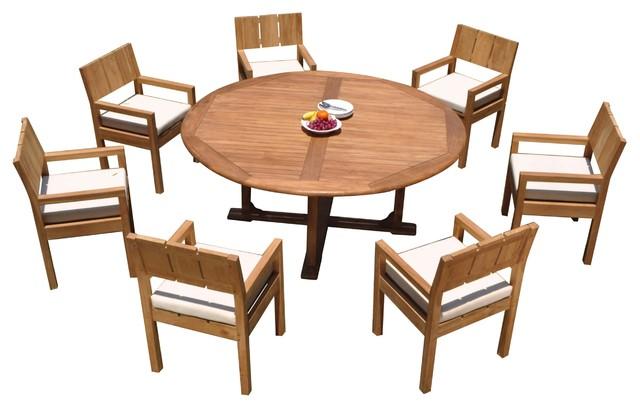 8-Piece Outdoor Patio Teak Dining Set: 72\