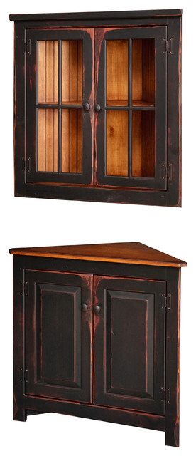 Antique China Hutch >> Antique Black Painted Corner Cabinet With Hanging Top
