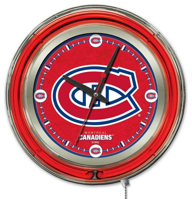 Montreal Canadiens Double Neon Ring 19 Quot Logo Clock