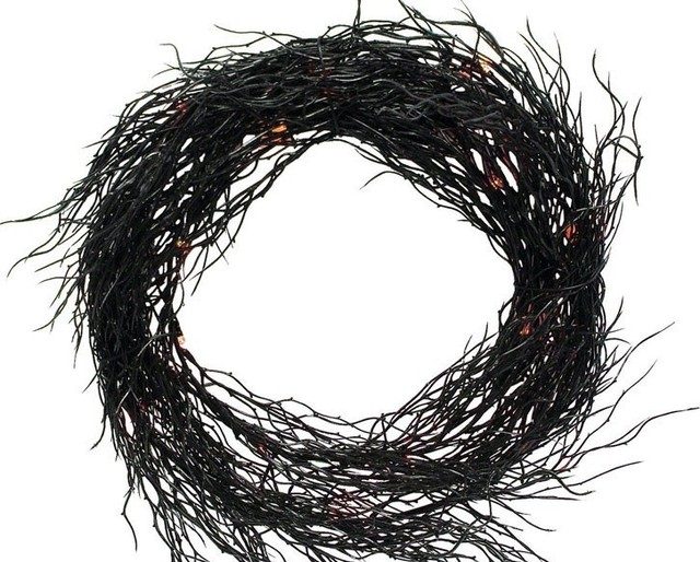 Sienna Battery Operated Wreath Halloween Decoration, Black.