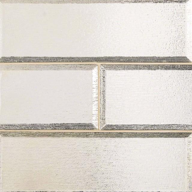 Silver Glisten 4x12 Beveled Crystallized Glass Subway Tile Backsplash 1