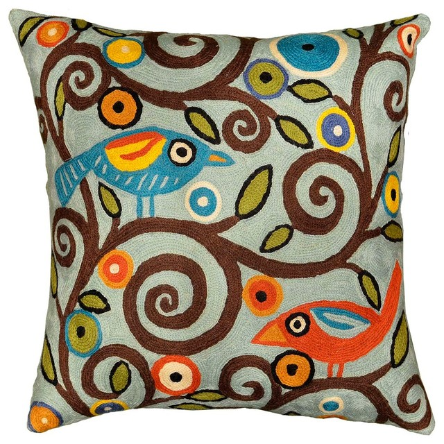 Klimt Tree Of Life Birds Blue Throw Pillow Cover Handembroidered Custom Blue Decorative Pillows Modern