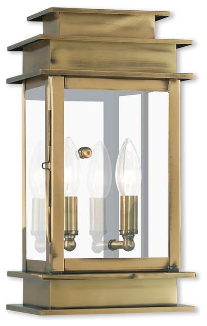 Princeton 2-Light Wall Lantern, Antique Brass.