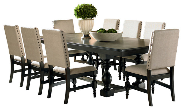Steve silver leona 9 piece dining room set traditional dining sets by beyond stores - Black and silver dining room set designs ...