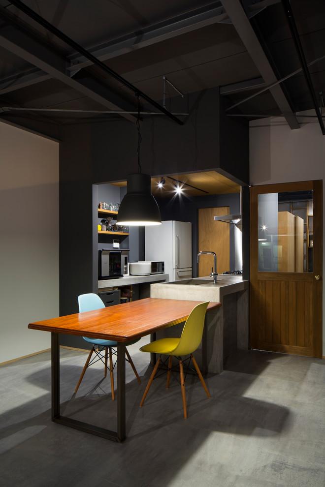 Esempio di una piccola cucina industriale con lavello sottopiano, nessun'anta, ante grigie, top in cemento, paraspruzzi a effetto metallico, pavimento in cemento, pavimento grigio e top grigio