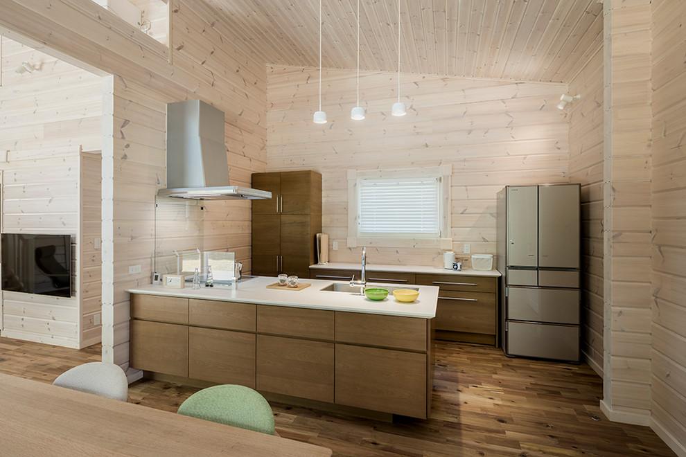 他の地域の北欧スタイルのLDKの画像 (シングルシンク、フラットパネル扉のキャビネット、中間色木目調キャビネット、ベージュキッチンパネル、無垢フローリング、ペニンシュラ型、茶色い床)