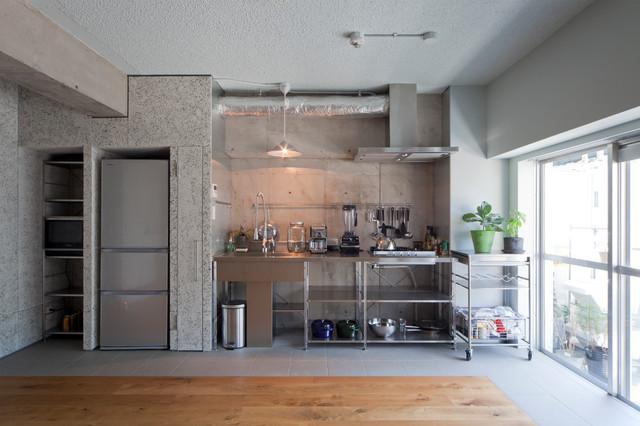 Foto di una cucina lineare industriale con lavello integrato e nessun'anta