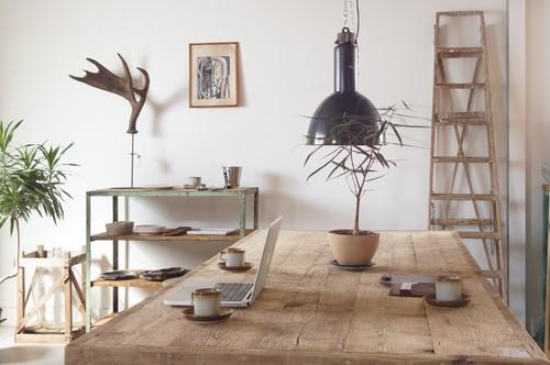 テーブルやラダーなど木のアイテムを上手にちりばめたインテリア。鹿の角や観葉植物もいい味を出していますね。