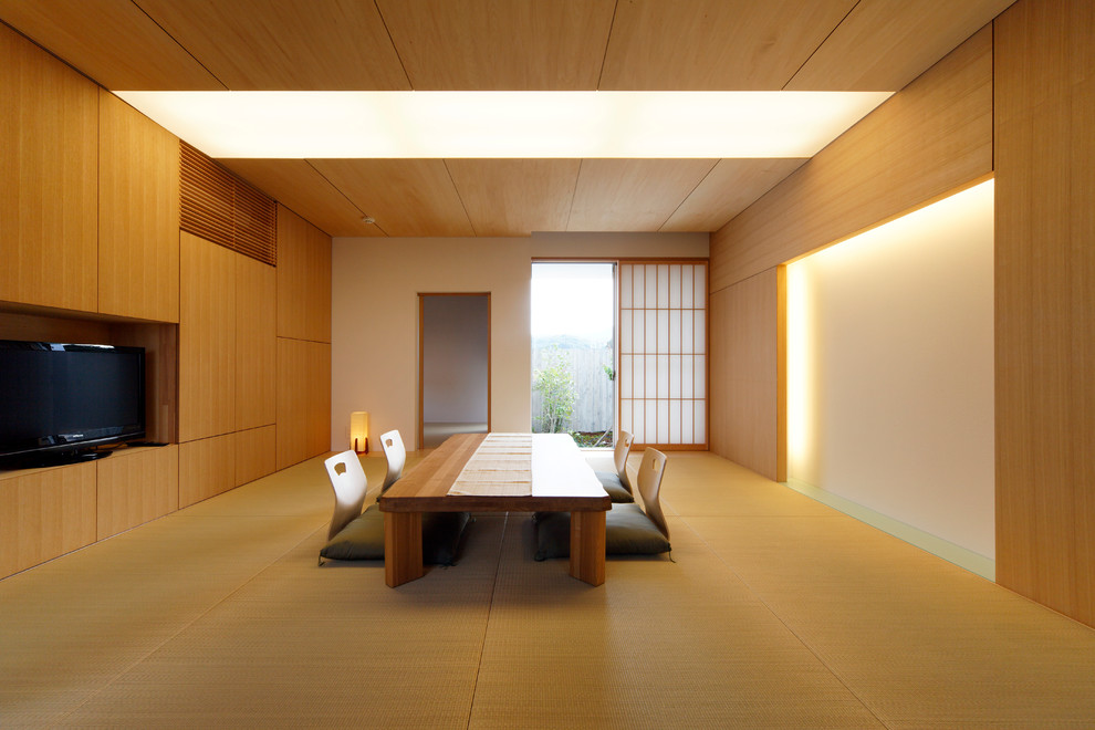 Inspiration for an asian enclosed dining room remodel in Tokyo with white walls