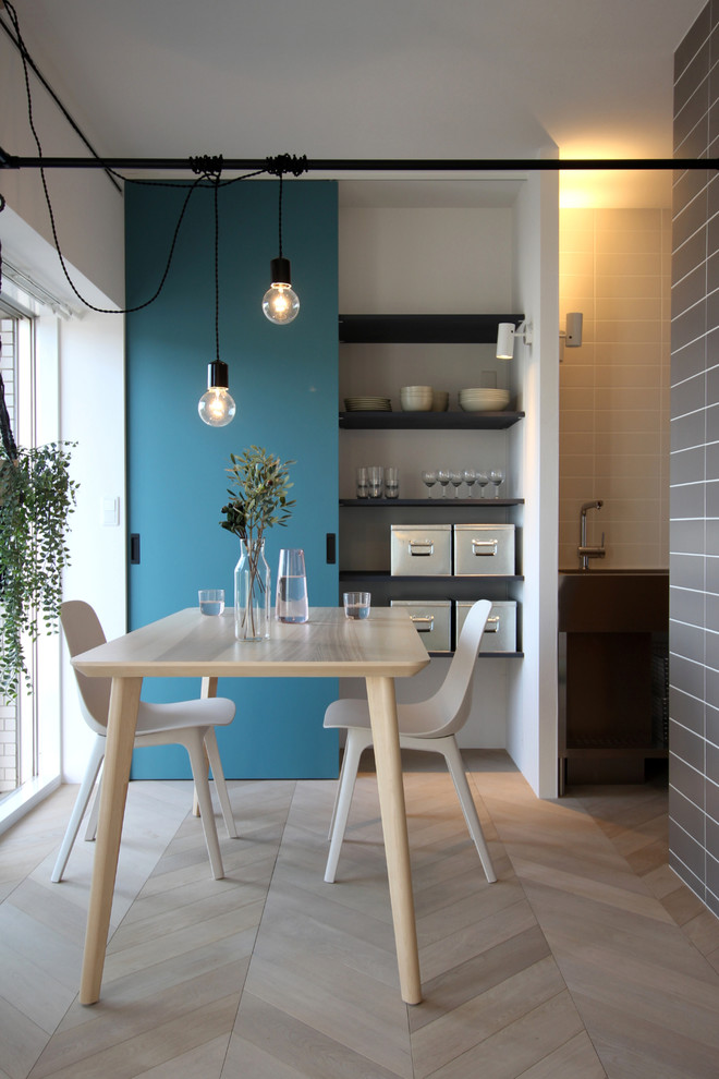 Inspiration for a small scandinavian painted wood floor and gray floor dining room remodel in Tokyo Suburbs with white walls
