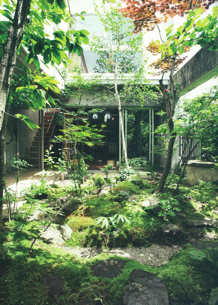 東京都下の和風の中庭の画像 (日よけなし)