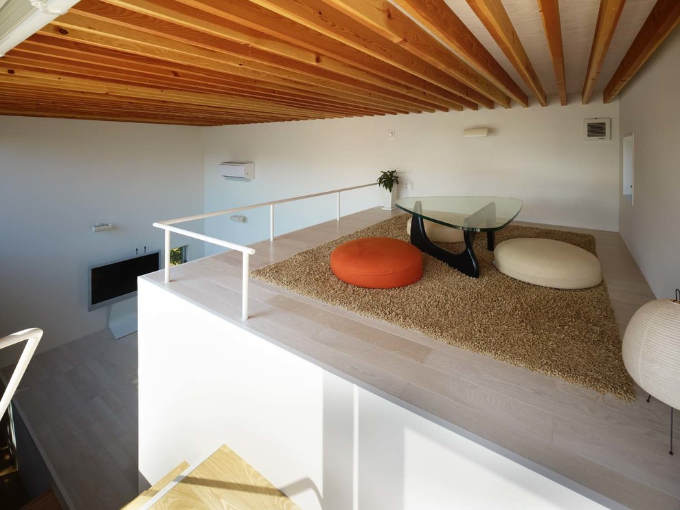 Inspiration for a mid-sized contemporary loft-style plywood floor and beige floor game room remodel in Other with white walls and a tv stand