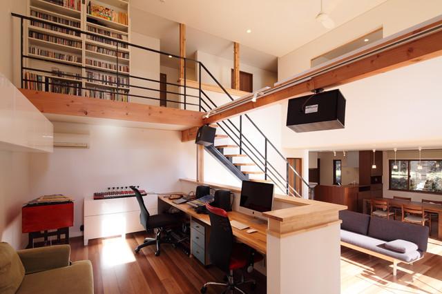川岸の家 スタジオ コンテンポラリー-書斎ホームオフィス
