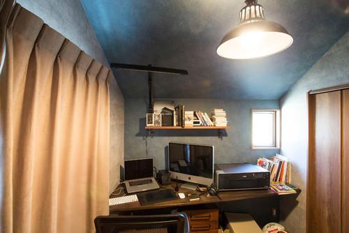 書斎の壁紙 コンクリート柄