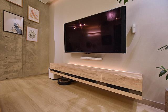 フロートテレビボード設置完了3 モダン-リビング