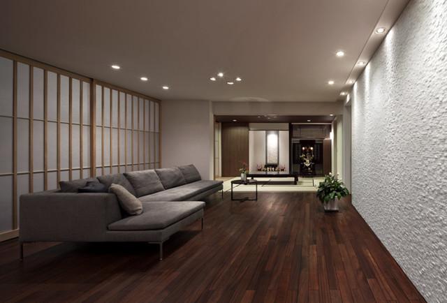 広いリビング ダイニングの家 modern living room fukuoka by