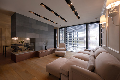 is the grey feature wall concrete slabs looks really nice room
