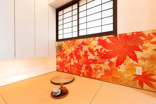 腰壁に和紙を使った和室の壁紙・クロス