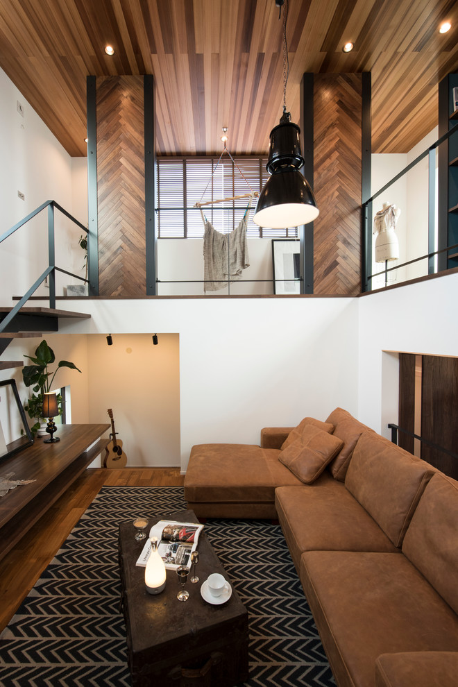 Mid-sized trendy formal carpeted and brown floor living room photo in Nagoya with no tv, white walls and no fireplace