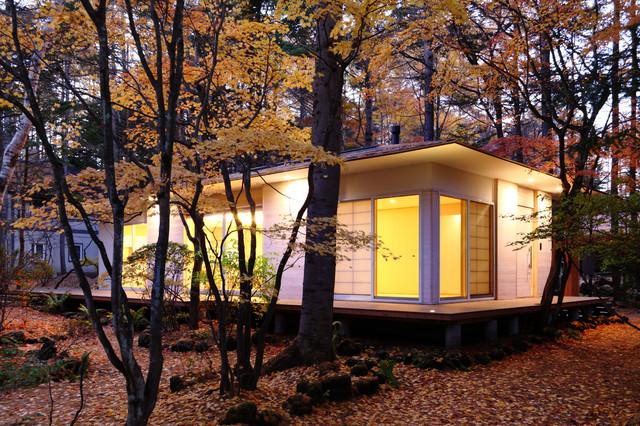 他の地域, の中サイズの和風の家の外観の写真 (木材サイディング、寄棟屋根、戸建、金属屋根)