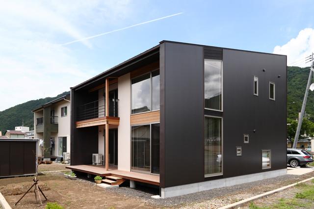 他の地域, のコンテンポラリースタイルの二階建て住宅の写真 (混合材サイディング、黒い外壁、片流れ屋根、戸建、金属屋根)